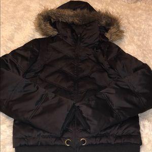 Jackets & Blazers - Brown Sateen Puffer Jacket